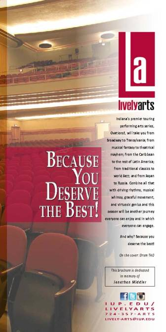 Page 2 of 2015-16 Lively Arts brochure, IUP